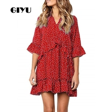 GIYU Summer Women V Neck Half Sleeve Dress Party Mini Dresses Ruffles Vestido Sexy Loose High Waist robe femme giyu summer flower printing women long chiffon dress holiday bohemia dresses long sleeve vestido sexy high waist robe femme