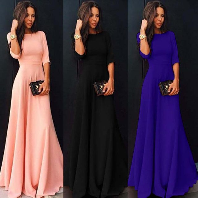 2018 Summer Sexy Elegant Women Half Sleeve Slim Empire O-neck Vestido Evening Formal Party Prom Long Maxi Dress Plus Size S-2XL 13
