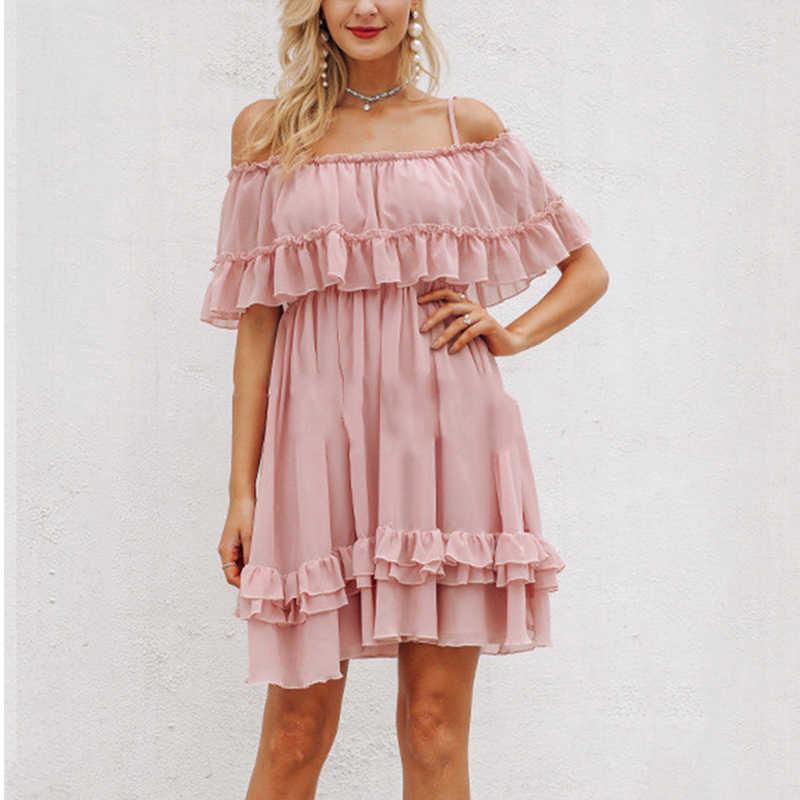 С открытыми плечами на бретельках шифоновые свободные летние платья для отдыха женское Плиссированное короткое платье с рюшами розовое элегантное праздничное пляжное мини-платье