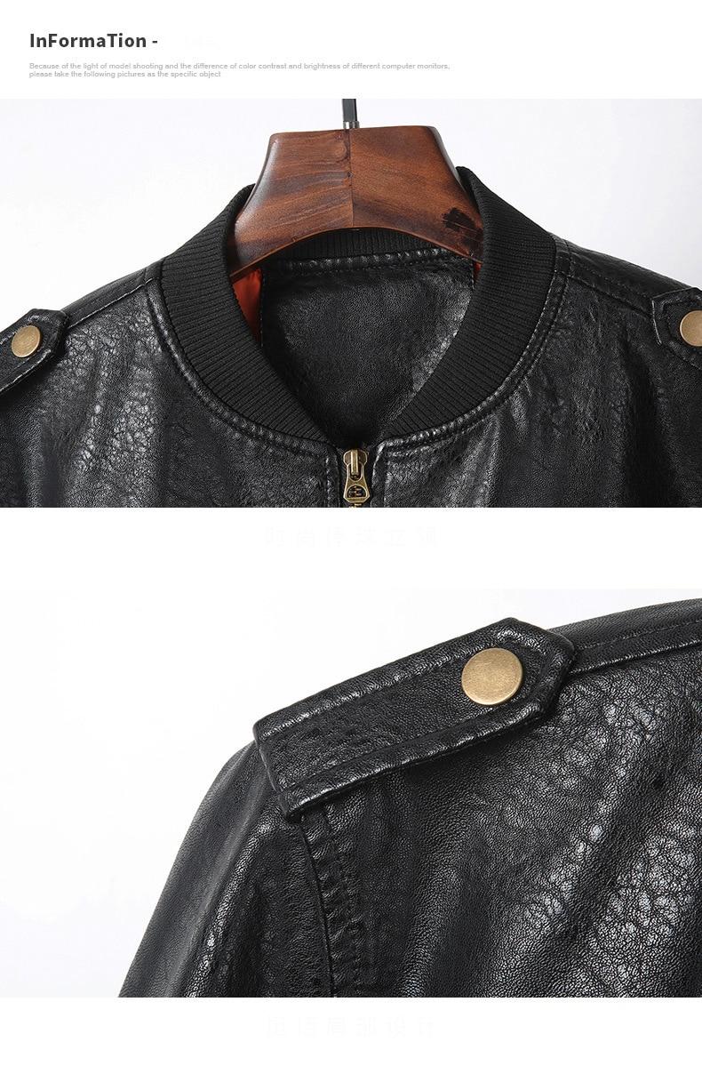 HTB1fTyJdgmH3KVjSZKzq6z2OXXa7 Men's Leather Jackets and Coats Male Motorcycle Leather Jacket Casual Slim Brand Clothing V-Neck Collar Coats