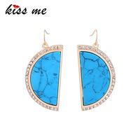 KISS ME Blue Brown Semicircle Rhinestone Natural Stone Earrings KPOP Big Dangle Earrings Women Jewelry