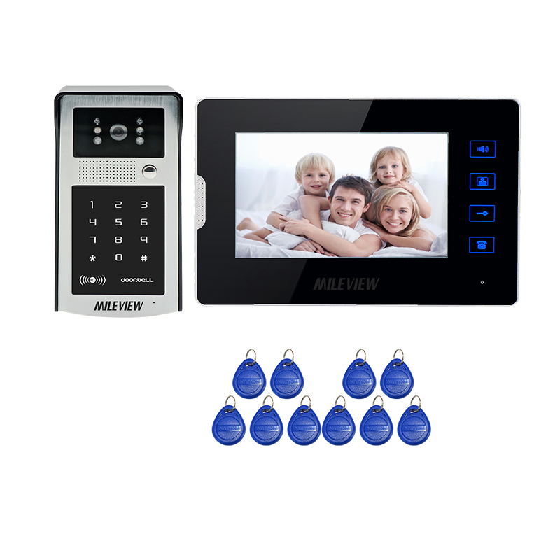 FREE SHIPPING New 7 Color Touch Key Monitor Video Door Phone Intercom System + Metal Waterproof RFID Code Keypad Door Camera