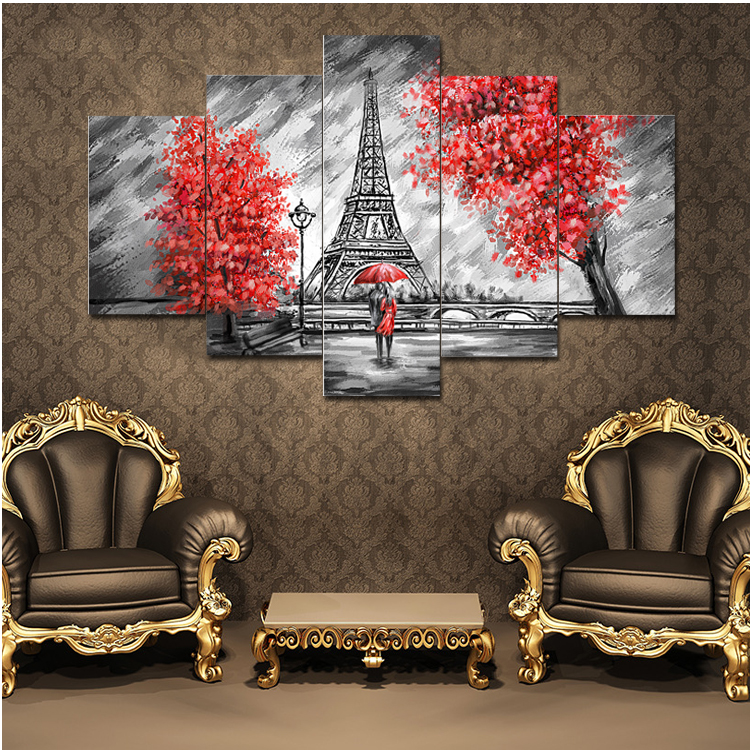Abstract lovers canvas paintng hot cuadros decorative 5pcs for Cuadros decorativos clasicos