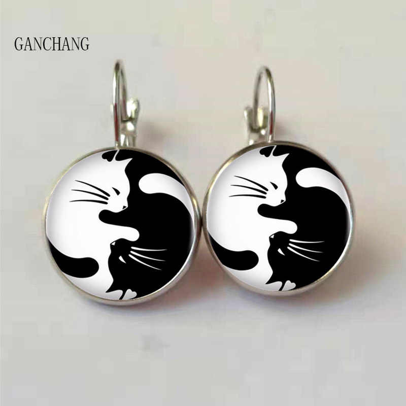 Glass black and white two cat earrings women's fashion earrings, private custom 2019 New Jewelry Jewelry Silver/Bronze