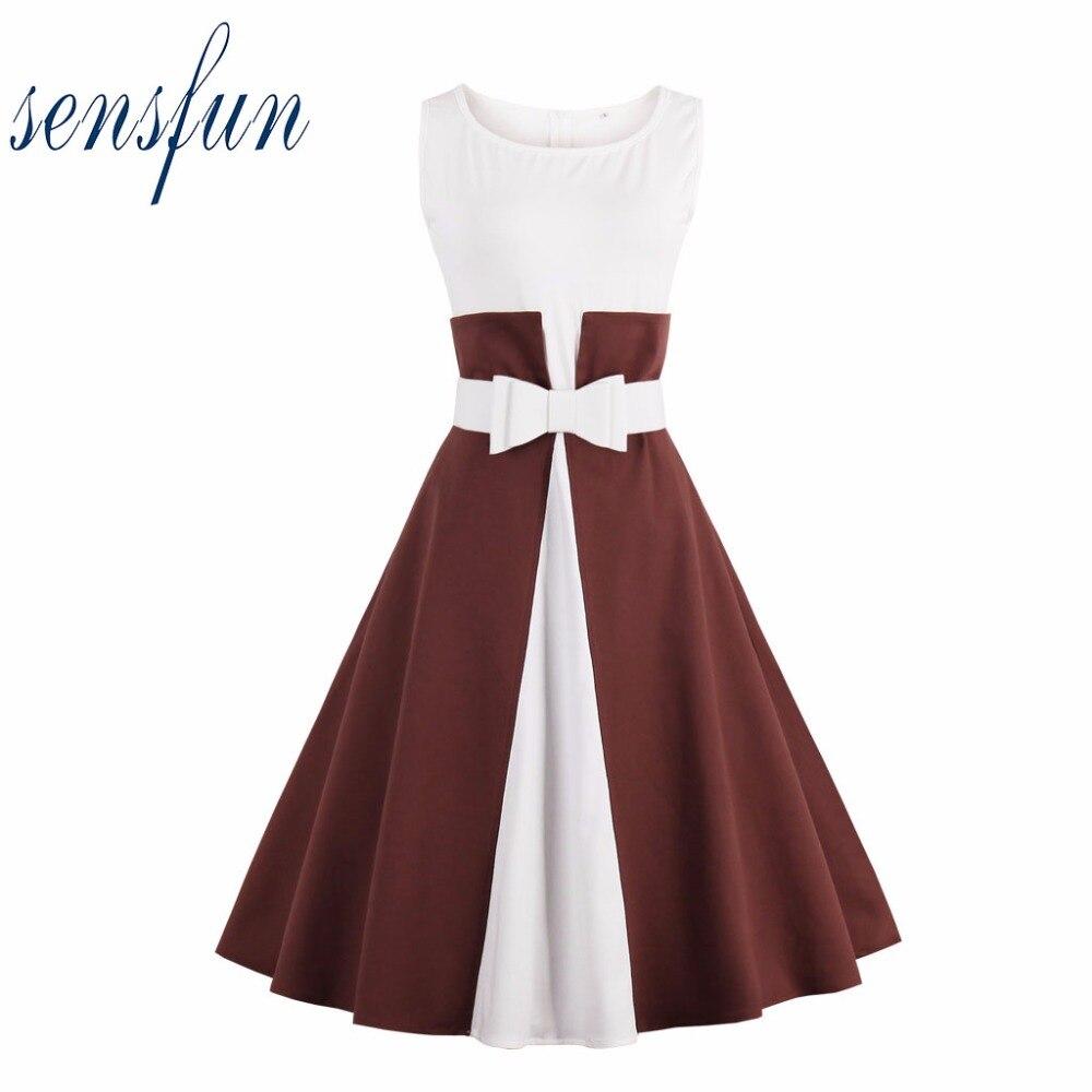 Sensfun Sommer Kleid 50 60 Elegante Frauen Baumwolle Hepburn Robe ...
