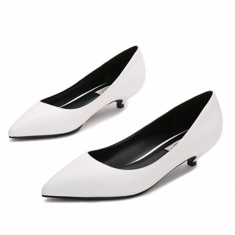 Dropshipping Pointed Toe Low Heel Shoes Concise Shallow Fashion Pumps Women Plus Size Office F0024