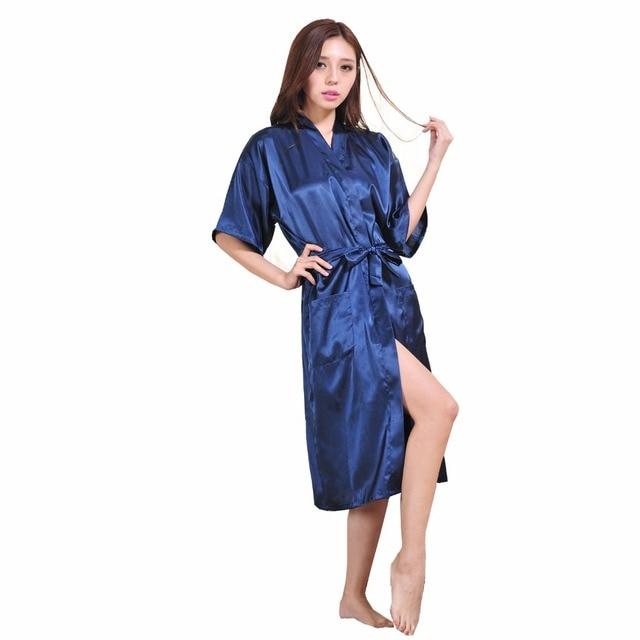 Navy Blue Chinese Women Rayon Silk Nightgown Sexy Yukata Kimono Gown With Belt pijama feminino Plus Size S-XXXL NR045