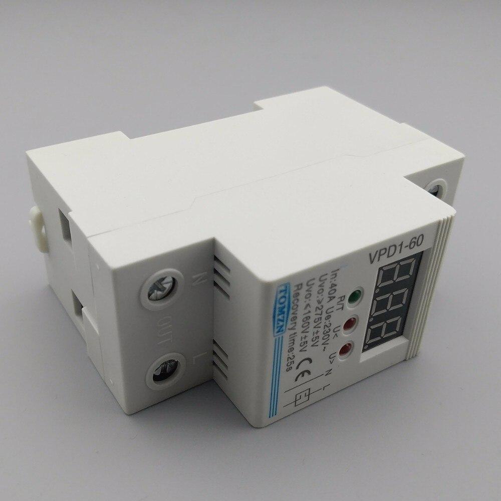 80a 220 V Einstellbare Automatische Verbinden überspannung Und Unter überspannungsschutz-gerät Relais Mit Voltmeter Spannung Monitor Leistungsschalter Elektrische Ausrüstungen & Supplies