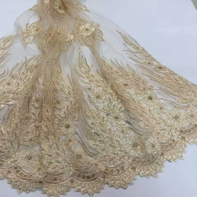 New Matte Double Sided Bone Flowers Embroidery Sequins Beads Fabrics Wedding Dress Fabric