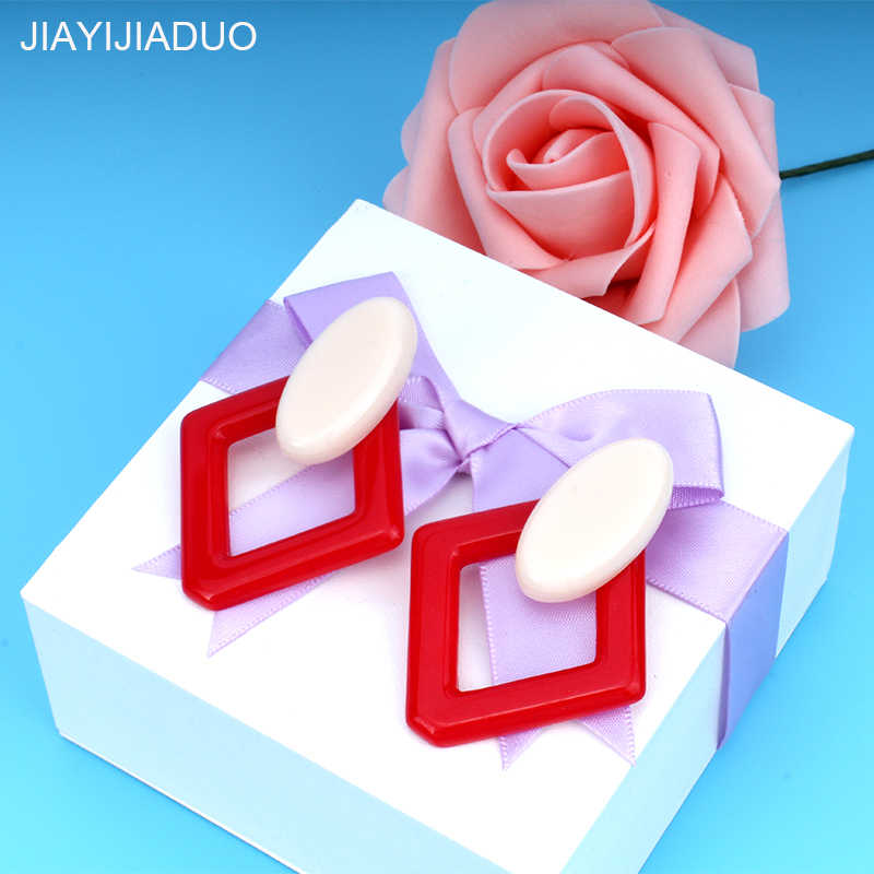 jiayijiaudo  Fashion Acrylic Red Earrings for Women Jewelry Earrings 2 Color dropshipping 2018 new