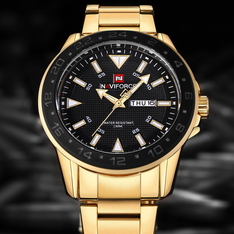 Mens Watches Top Brand Luxury NAVIFORCE Fashion Quartz Watch Men Waterproof Full Steel Gold Wristwatches relogio masculino woonun top famous brand luxury gold watch men waterproof shockproof full steel diamond quartz watches for men relogio masculino