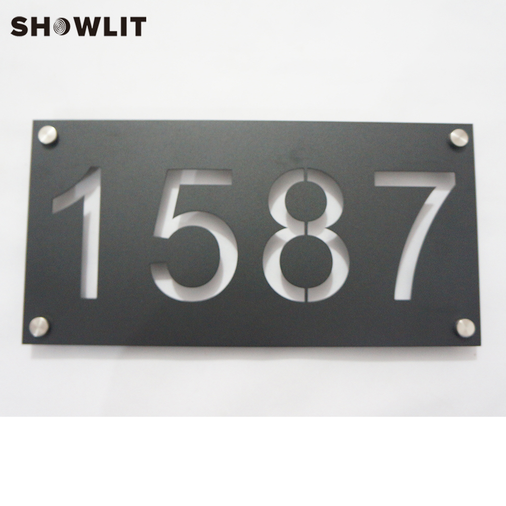Black Color Door Plate Customized Waterproof Powder Coated Stainless Steel Number Plate Outside Door Sign with Family Name
