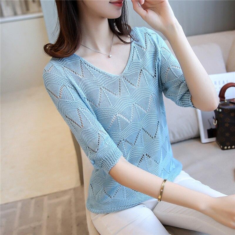 Short design women Crocheted shirt summer thin half sleeve sweater <font><b>basic</b></font> shirt loose all-match <font><b>air</b></font> <font><b>conditioning</b></font> pullover tops