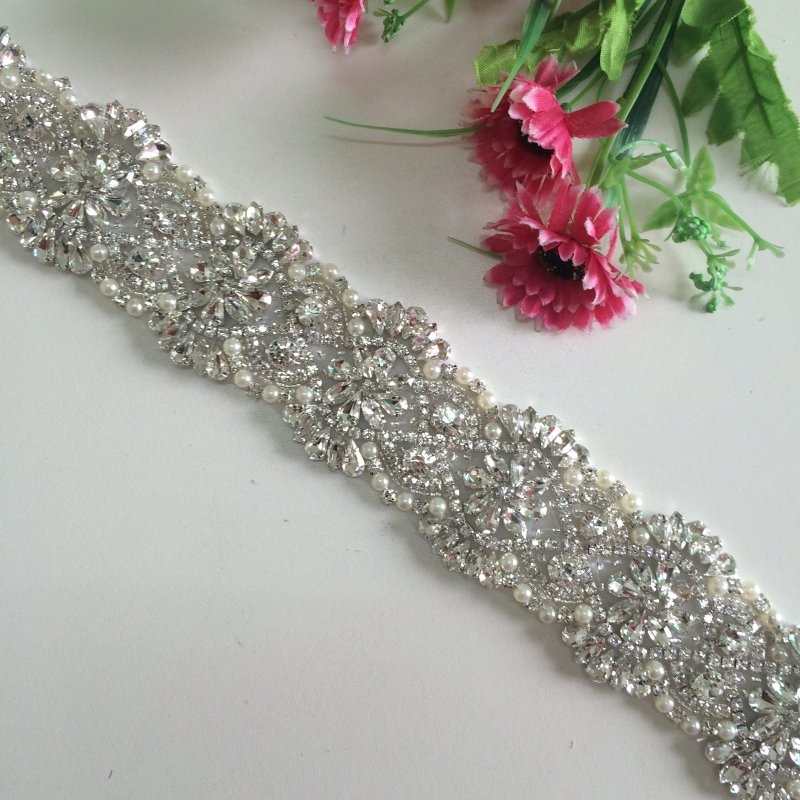 3 Yards Luxury New Sparkly Rhinestone Crystal Wedding Sash Ivory Belt Vintage Sash Handmade Stunning DIY