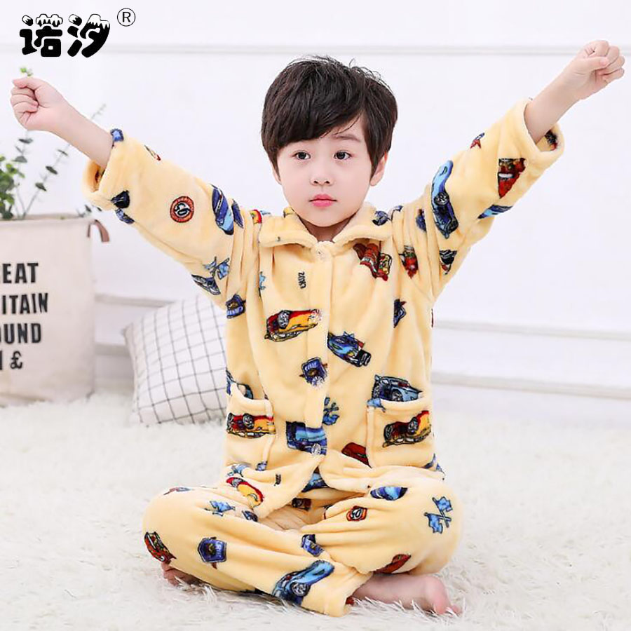 adbde34f0b8b4 US $12.71 43% OFF|baby Boys Sleepwear baby girl winter flannel sets Child  Homewear Pajamas for Boy Pyjamas Kids Nightwear 1 11Y baby warm clothes-in  ...