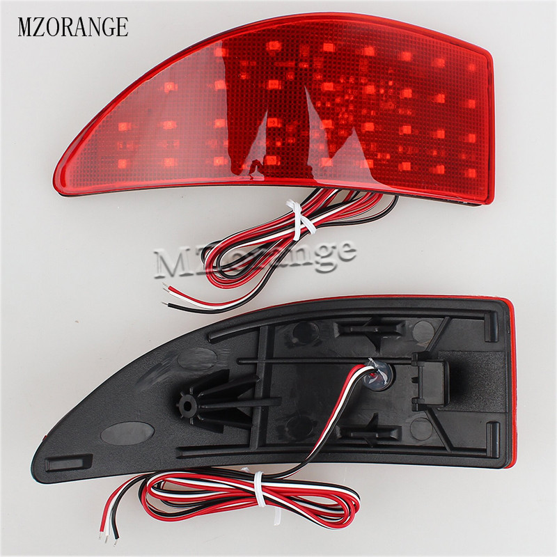 12V LED Red Rear Bumper Reflector Lights Brake Parking Light Auto Tail Night Running Lamp For