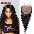 7A DHL frete grátis brasileiro virgem cabelo onda profunda fechamento cabelo humano Base de seda de 3 parte seda fechamento superior