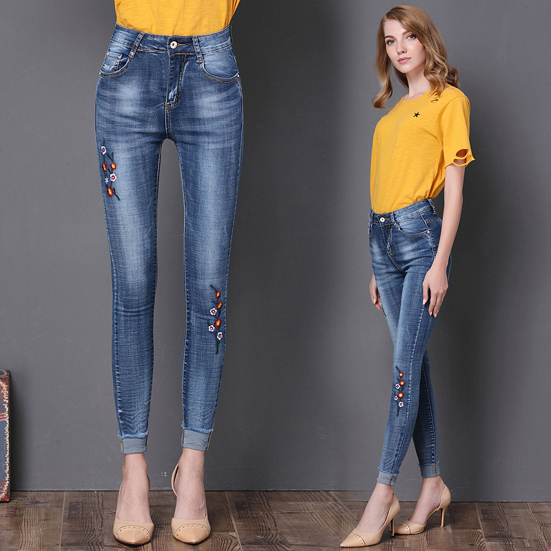 Stretch Embroidered Jeans For Women Elastic Flower Skinny Jeans Female Pencil Denim Pants Flower Pattern Pantalon Femme J17 Z35 free shipping women s skinny pants jeans female jeans belt clothing pencil pants elastic women s trend