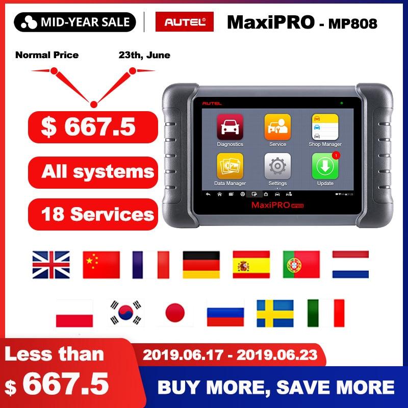Autel MaxiPRO MP808 OBD2 Scanner Car Diagnostic Tool OBDII OE-level Bi-directional Control key programmer Code Reader PK DS808