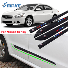 smRKE Car-styling 4pcs High Quality Brand New Side Doors Rubber Bumper Protector Guard Scratch Sticker Trim For Nissan Vehicle