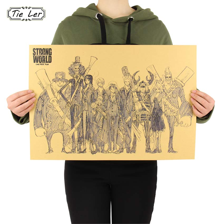 Home Decor Wall Sticker Retro Anime One Piece Collection Poster Kid Favorite Poster 51.5 * 36 CM