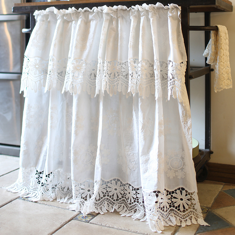 Nordic Country Lace Half-curtain Pure White Cotton Coffee Curtain Openwork Embroidery Short Curtain for Kitchen Cabinet Door