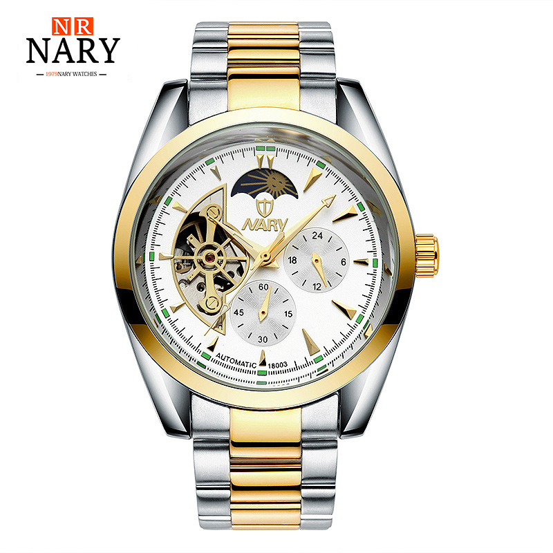 NARY New automatic Mechanical Watch Fashion Luxury Brand Men Gold Hollow Watches Male skeleton Wristwatch relogio masculino forsining gold hollow automatic mechanical watches men luxury brand leather strap casual vintage skeleton watch clock relogio