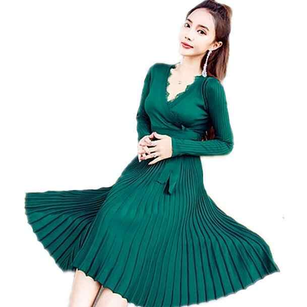 Women Lace Sweater Knitted Dress 2019 Vestidos Office Lady Sashes V-Neck Solid Plus Size Vintage Pleated Dress DF464