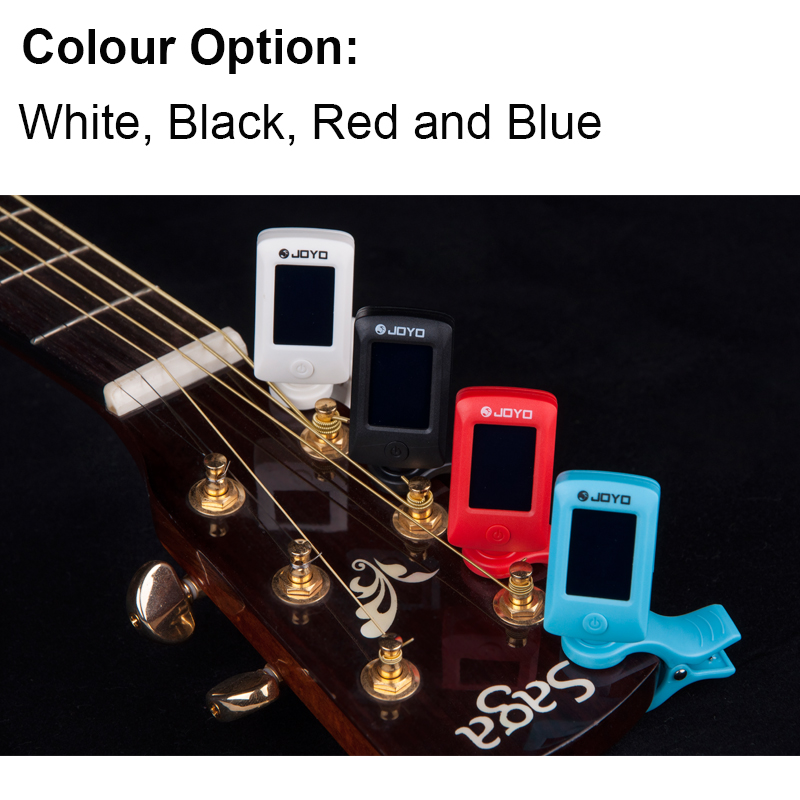 Купить с кэшбэком JOYO Guitar Tuner for Guitarra ukulele Violin Bass Chromatic Digital LCD Clip on 360 Degree Rotatable sensitive Music Instrument