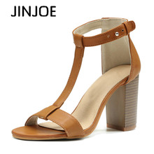 JINJOE Rubbing sandals Rome shoes Women Shoes Sandals Summer Ankle Wrap High Heels Chunky Heel Work