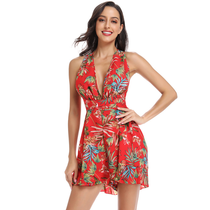 Casual Floral Print Lace Up Short   Jumpsuit   Women Sexy Deep V Neck Belt Beach Vacation   Jumpsuit   Summer Mono Mujer Playsuit 2019