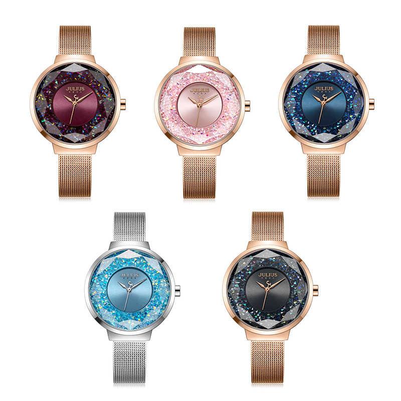 f1d34fa80fb ... Julius Brand Luxury colorful Women Watches Rose Gold Dress Ladies  Stainless Steel Bracelet Watch Crystal Quartz