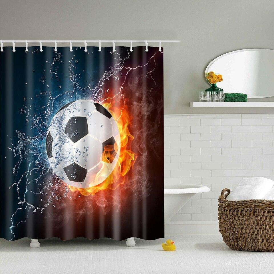 Papa & Mima voetbal gedrukt Waterdichte Douchegordijnen Polyester ...