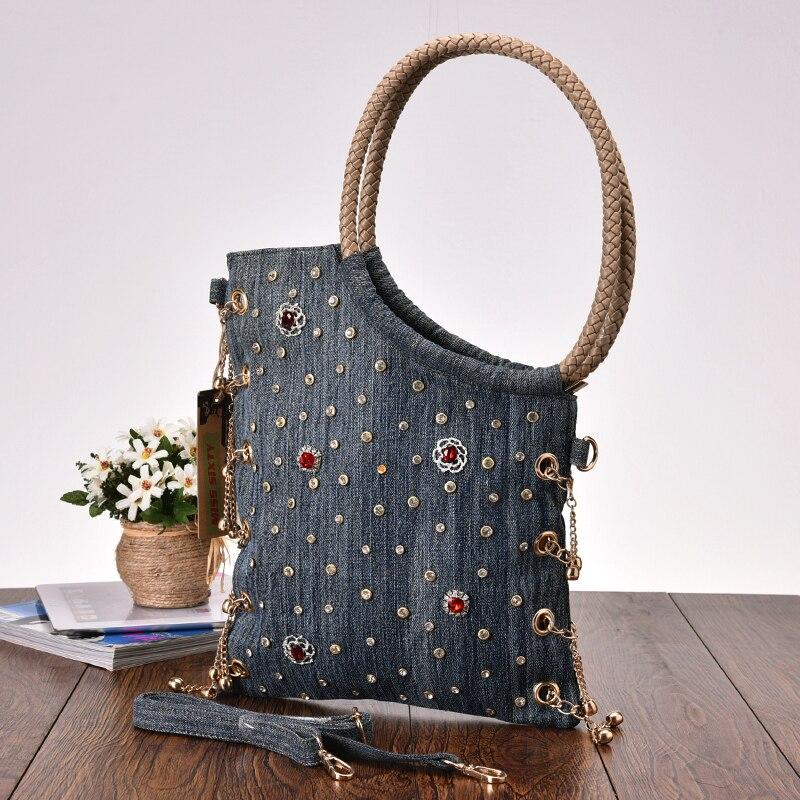 새로운 빈티지 패션 데님 비즈 라인 석 청바지 여성 레이디의 어깨 핸드백 저녁 가방 여성 bolsa feminina-에서숄더 백부터 수화물 & 가방 의  그룹 3