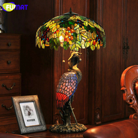 FUMAT Vintage Tiffany Grape Shade Table Lamps Artistic Deco Crane Stand Table Lights For Living Room Bedside LED Quality Light