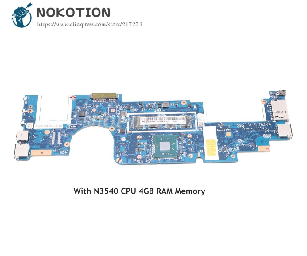 NOKOTION For Lenovo Yoga 2 11 Laptop Motherboard AIUU1 NM-A201 11.6 SR1YW N3540 CPU 4GB RAM MemoryNOKOTION For Lenovo Yoga 2 11 Laptop Motherboard AIUU1 NM-A201 11.6 SR1YW N3540 CPU 4GB RAM Memory