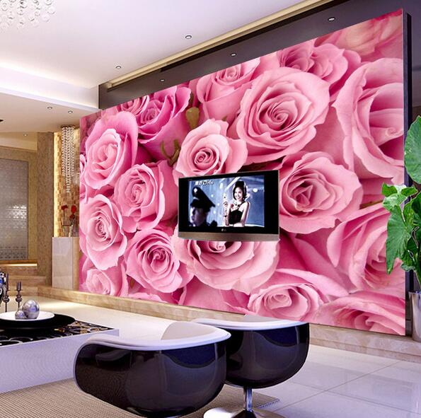 3D Pink Rose Wall Mural Large Photo Murals for Living Room Bedroom ...
