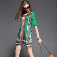 new summer 2019 women's vintage striped printed silk plus size dress