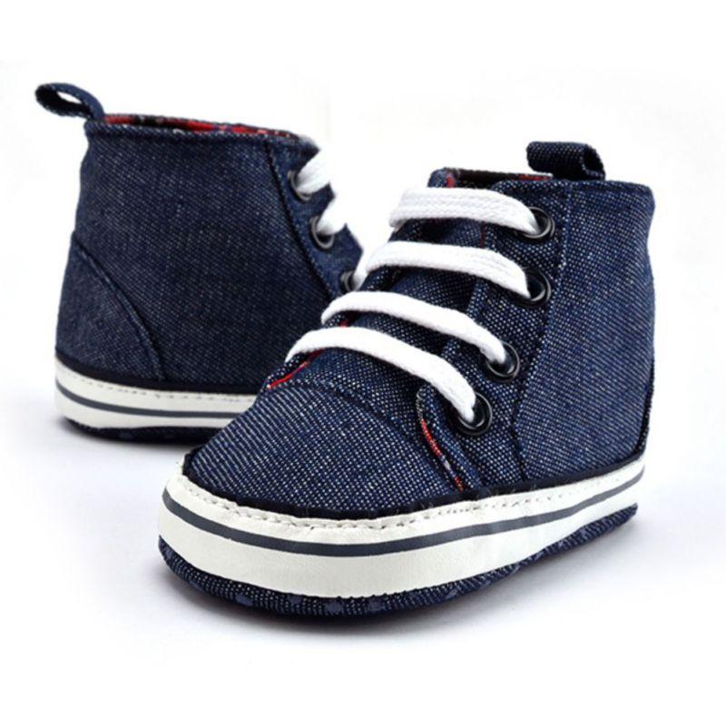 Bebê meninos meninas antiderrapante sapatos casuais alto tornozelo tênis de  lona de algodão crib shoes 0-18 m f28 223ce100d1c