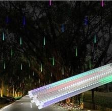 50cm 8Tubes Rain Drop/Icicle Snow Fall String LED Lights Christmas Tree Cascading Light Decor Garden Light EU Plug