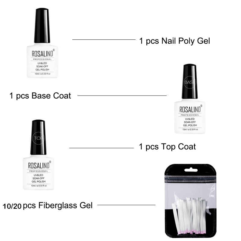 ROSALIND Fiber Glas Gel Nagel Set Extension 10/20 pcs Poly Gel Knijpen Clips Base En Top Coat alle Voor Manicure