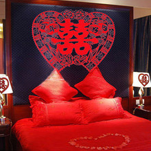 Marriage celebration supplies queen bed Double Happiness flocking cloth grilles paper cutting wedding room wall stickers double happiness mommy parure