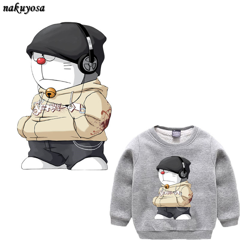 Listening music Doraemon T-shirt Sweater DIY Accessory A-level Washable Iron-on Transfers patch for clothing 30*20CM