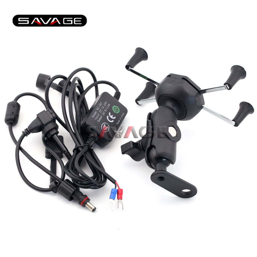 For HONDA NC700 NC750 S/X CTX700 CTX1300 Motorcycle Navigation Frame Mobile Phone Mount Bracket with USB charger