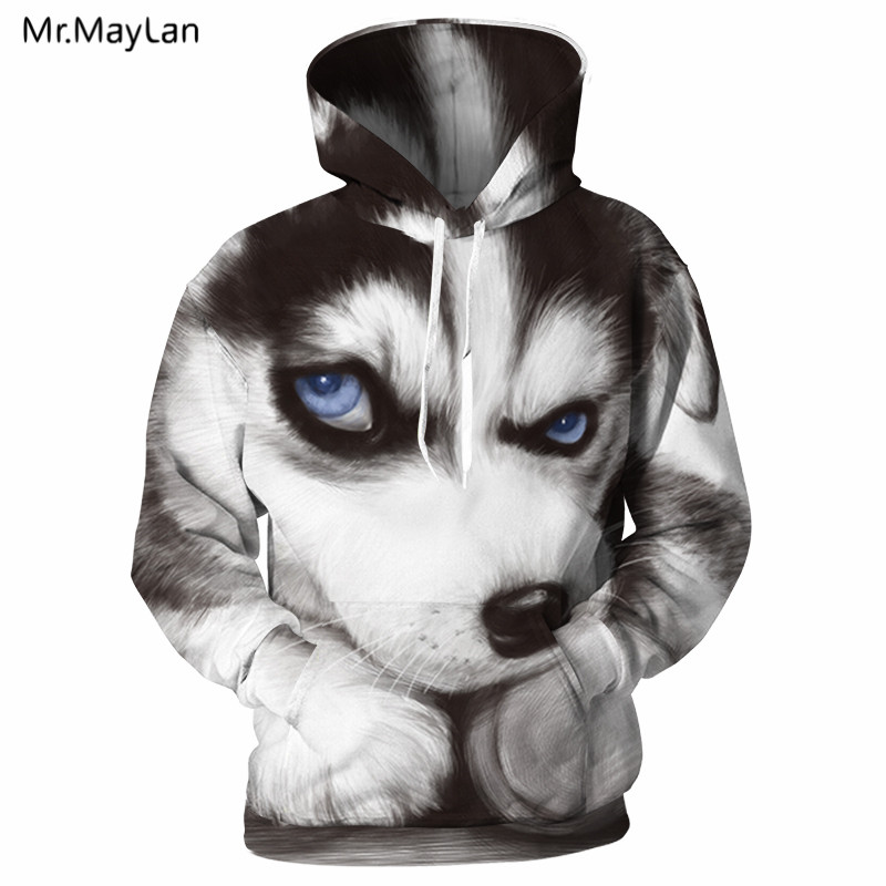 Funny Husky <font><b>Hoodies</b></font> <font><b>3D</b></font> Print Men Women <font><b>Animal</b></font> Huskie Sweatshirt Top <font><b>Unisex</b></font> Hoodie Hip Hop Leisure Streetwear Hooded Men Clothing image