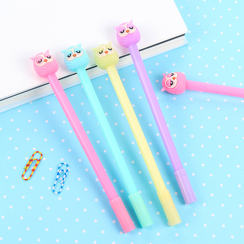 4 pcs/ lot 0.38mm Black Ink Plastic Gel Pen Creative Cute Kawaii Owl Pens For Kids Gift School Supplies Free Shipping 2476