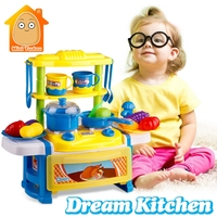 Pretend Play Kitchen Set Toy Plastic Foods Fruit And Vegetables Toys With Light Sound Classic Cooking For Girls Boys Kids