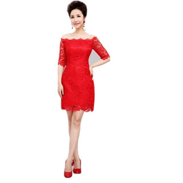 short red lace prom dress one word shoulder abschlussballkleider ...