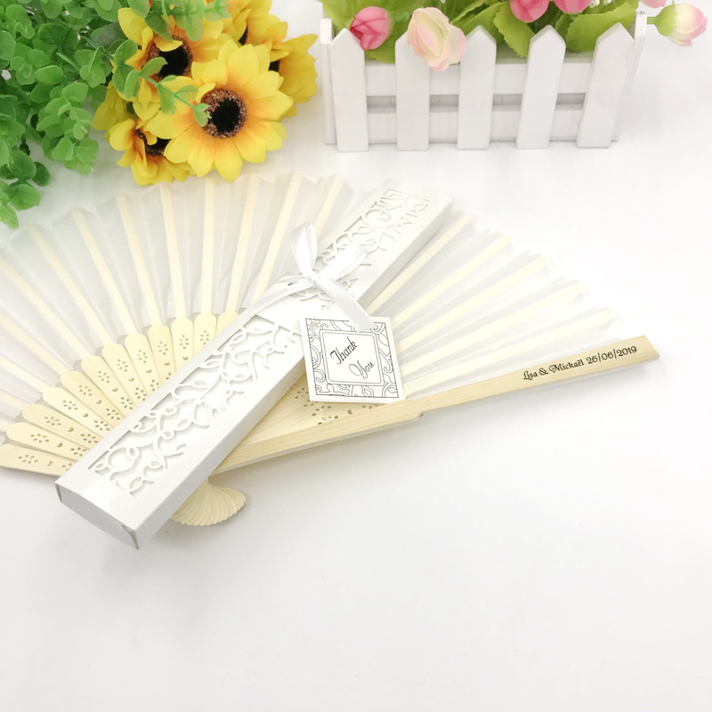 40pcs lot FREE SHIPPING Customized Wedding Fan In Gift Box Bridal Shower Favors Printing Name