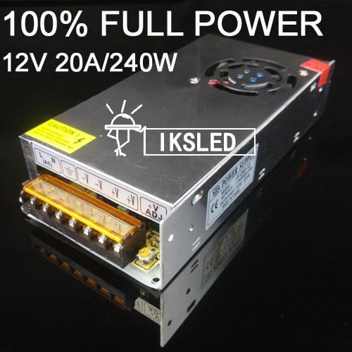 Бесплатная доставка, 1 шт. 20A 240 W адаптер 12В импульсный источник питания адаптер светодиодные полосы SM5050 SMD570 SMD5630 свет трансформатор
